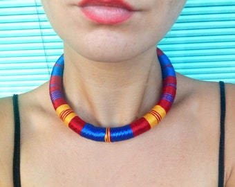 Choker Necklace, African Necklace, Choker Necklaces, Urban Choker, Ethnic Necklace, African Jewelry, Tribal Necklace, Rope Necklace