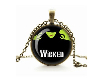 Wicked Necklace, Wicked The Musical Pendant, Elphaba, Glass Cameo Cabochon, Tile Necklace Jewellery