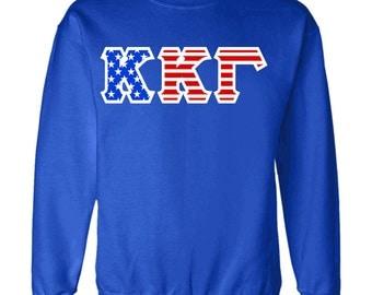 Kappa Kappa Gamma American Flag Twill Crewneck