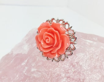 Coral Rose Ring Coral Wedding Party Gift Orange Adjustable Ring Coral Bridesmaid Gift Resin Rose Wedding Jewellery Summer Wedding Gift