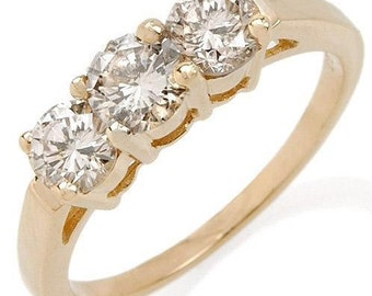 14k yellow gold & 1.00ct diamond ring