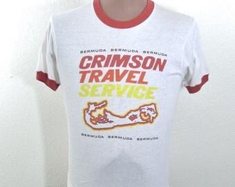 Vintage 70's 80's Ringer Tee T Shirt Crimson Travel Bermuda Screen Stars Medium