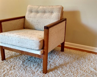 Mid Century Teak and Upholstered Side Chair