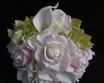 Bridal Toss Bouquet-Toss Away Bouquet-Pink and White Bouquet