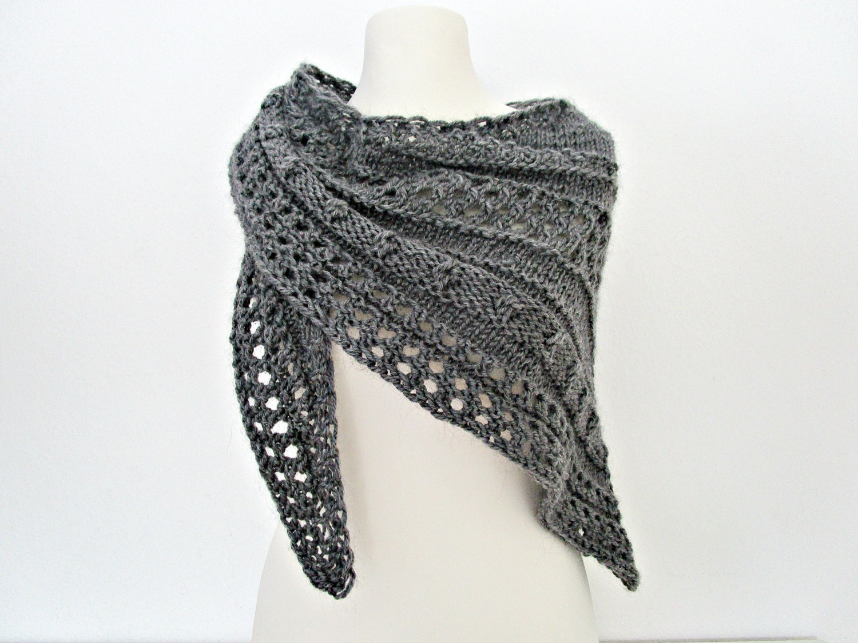 Knitting Shawl : Gray knitted shawls hand knit shawl wool wrap