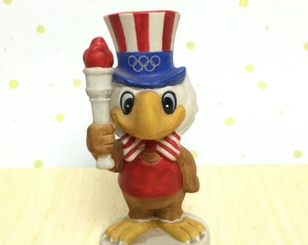 Olympics 1980 - L A - SAM the Eagle Holding Torch Porcelain Figurine - PAPEL -