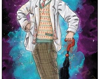 Seventh Doctor Sylvester McCoy 7th Dr Who Inspired Splash Style A4 Original Art Print