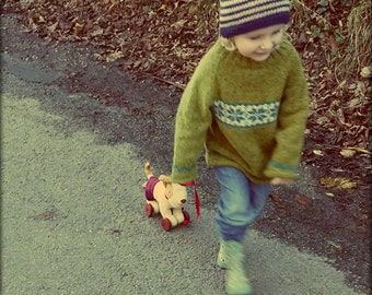 Hand Knitted Fairisle Toddler Sweater. Winter Garden Jumper.
