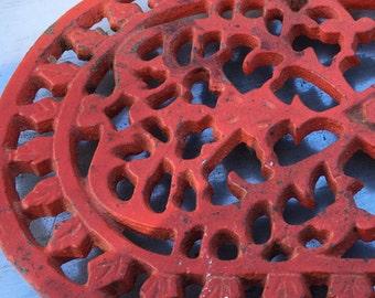 red iron trivet vintage