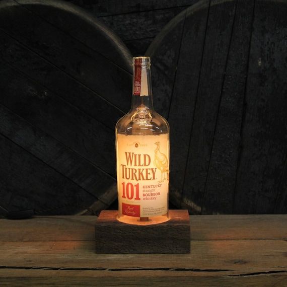 Wild Turkey 101 Bourbon Bottle Lamp, Features Reclaimed Wood Base, Edison Bulb, Twisted Cloth Wire, In line Switch, And Plug, Upcycled Light