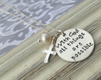 With God all things are possible silver necklace (Matthew 19:26)
