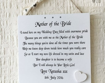 Mother of The Bride Wedding Shabby Chic Sign Wooden Plaque Gift Memories W7