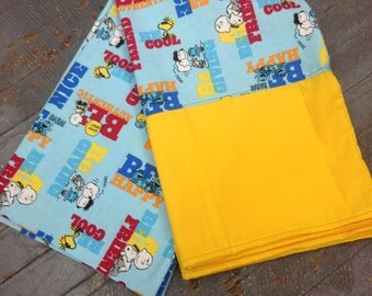 Handmade Fabric Cloth Pair Pillowcase Charlie Brown Snoopy Peanuts Comic Be Happy Pillow Case Set Set