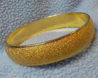 """Monet Gold Bangle~ Vintage Textured  1/2"""" Wide"""