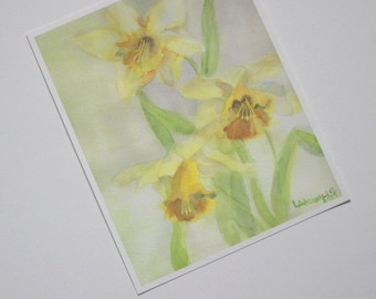 Springtime Daffodils Print Yellow Daffodil Flower Watercolor Picture Spring Flowers Painting Narcissus Home Office Wall Decor Art Artwork