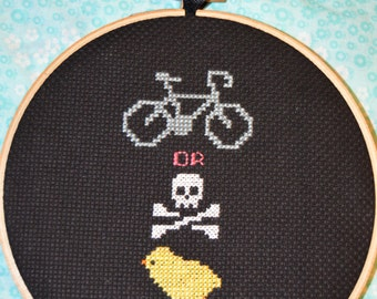Ride or Die Chick completed cross stitch wall hanging