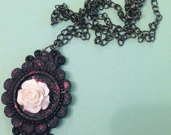 Kawaii Goth Pastel Goth Rose Cameo Necklace, Black and White