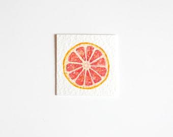 Miniature Grapefruit Painting, Miniature Art, Food Art, Watercolor Fruit Painting, Tiny Painting, Fruit Art, Citrus, Food Painting, Pink Art