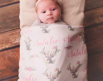 Personalized Baby Blanket-Deer Antler-Floral Blanket For Girls With Name-Rustic-Boho Feminine Nursery- Photos  Blanket Announcement Shower