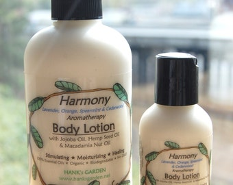 Organic Vegan Reiki Charged HARMONY Body Lotion with Jojoba, Lavender, Orange, Cedarwood, Spearmint-Paraben free, biodegradable, No Palm Oil