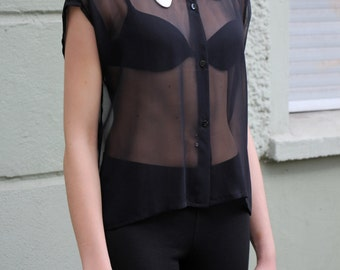Black Sheer Silk Chiffon Shirt with Curly Brackets Collar
