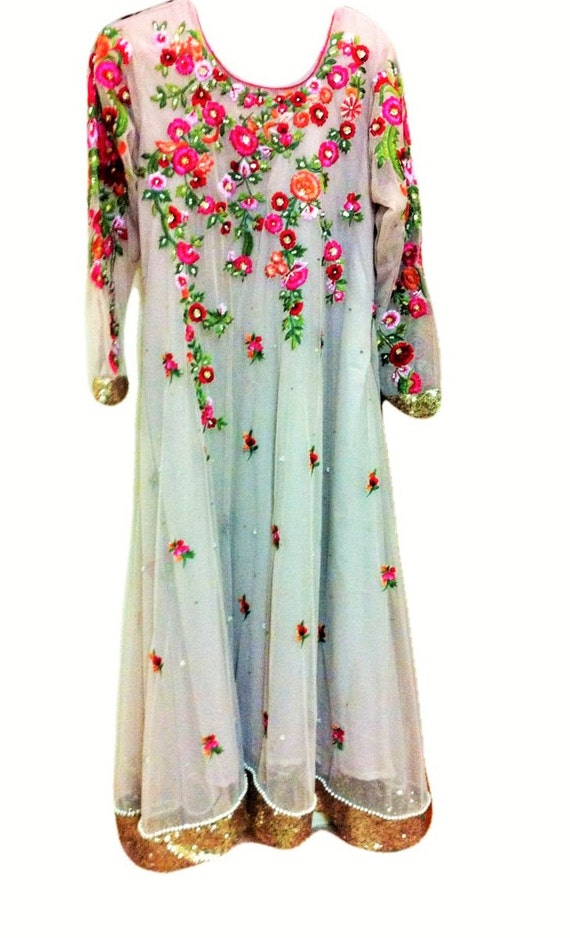 Pakistani dress floral pearl embroidered pc indian