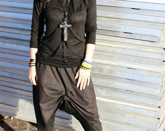 Black Loose Top/ Turtleneck Extravagant Blouse / Asymmetric Long Sleeves Top by Fraktura B0015