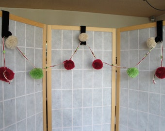 pompom garland, Christmas bunting, CLEARANCE price pompoms, party decoration, pompom bunting, playroom garland, home decor, woolly pompoms