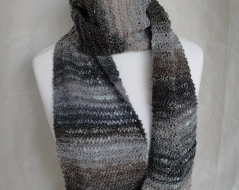 womans gray scarf, grey neckwarmer, wool knit scarf, grey multi scarf, sparkle neckwarmer, all seasons scarf, wool silk mohair scarf, tippet
