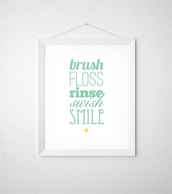Bathroom Signs Brush Your Teeth mint bathroom kids bathroom sign brush your teeth mint