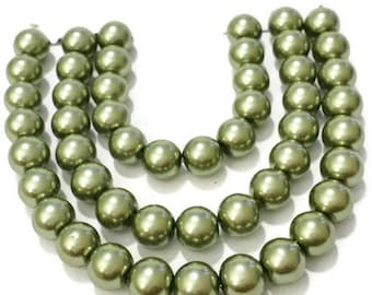 Beads for jewelry making, olive green pearls, 6mm green glass pearls, pearl beads bulk, 6mm glass beads, wedding supplies, hair bow supplies