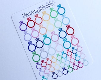 Engagement Ring Stickers   51 Planner Stickers