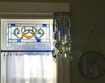Fused Glass and Wire Mobile , Blue, Green, and Clear Glass Suncatcher Mobile