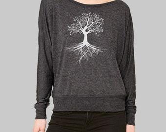 Long Sleeve Shirt, Tree Shirt, tree of life, dolman sleeve top, womens blouses, long sleeve tshirt, graphic tee women, plus size clothing