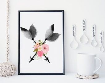 Arrows wall art, watercolor art print, flowers wall art, Arrow poster, Tribal wall art, boho print, home wall decor, Arrow nursery decor