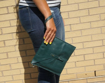 Green Leather Envelope Clutch | Envelope Clutch