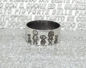 Sterling silver ring with engraved family pictures