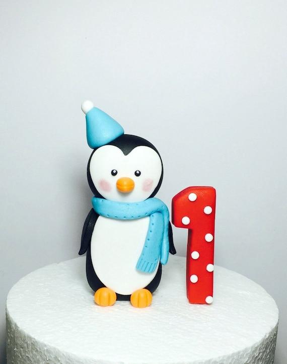 Penguin cake topper. Fondant penguin winter onederland cake