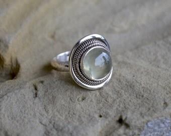 Gemstone Ring, Prehnite Ring, Sterling Silver Ring, Tribal, Prehnite Sterling Silver Ring, High Dome Green Prehnite, Size 8.25 (R47)