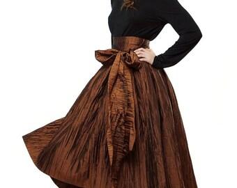 Asymmetrical Evening skirt, Skirt bronze floor length Romantic Wedding skirt Bridesmaid.