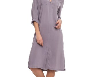 Cotton Gray Dress Knee Length Comfortable Loose Dress-Shirt Casual Spring-Summer Dress With Sleeves.