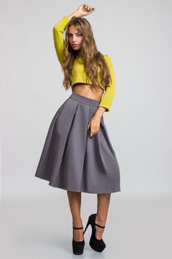 formal grey skirt is midi flared skirt pleats by