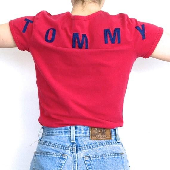 90s tommy hilfiger red v neck short sleeve t shirt. Black Bedroom Furniture Sets. Home Design Ideas