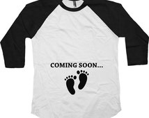 Coming Soon Pregnancy Reveal Maternity Gifts American Apparel Pregnancy Announcement 3/4 Sleeve TShirt Maternity Baseball Raglan Tee - SA175