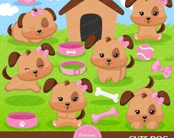 Puppy clipart, kawaii dog clipart, pink puppy clipart, dog birthday clipart, puppy clip art, digital clipart  - CA348