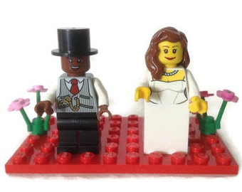 Lego Wedding Cake Topper Gift Favor Made to Order Choose Ring/Flowers/Glasses *Customised*