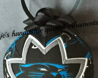 CAROLINA PANTHERS Ornament Made From Panthers Fabric,Carolina Panthers Ornaments,Carolina Panthers,Quilted Ornaments,Sports Decor