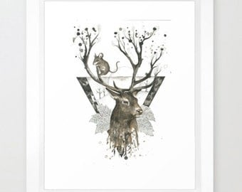 Stag & Mouse Print