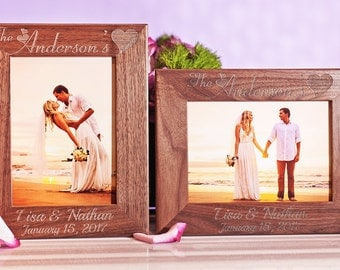 Walnut Couple Picture Frame, Personalized Family Photo Frame, Custom Engraved Gift, 5x7 Pictures, for Wedding, Lovers, Engagement, Honeymoon