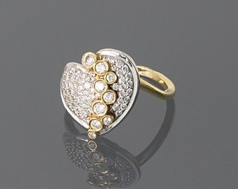 FINAL SALE 50% OFF, Statement ring, Heart ring, Sparkly ring, Unique ring, Yellow gold ring, Gold statement ring, Romantic ring